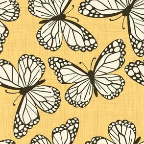 Goldenrod Linen Butterflies