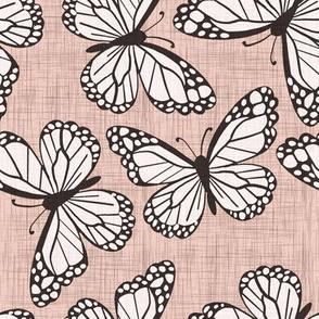 Rose Pink Linen Butterflies