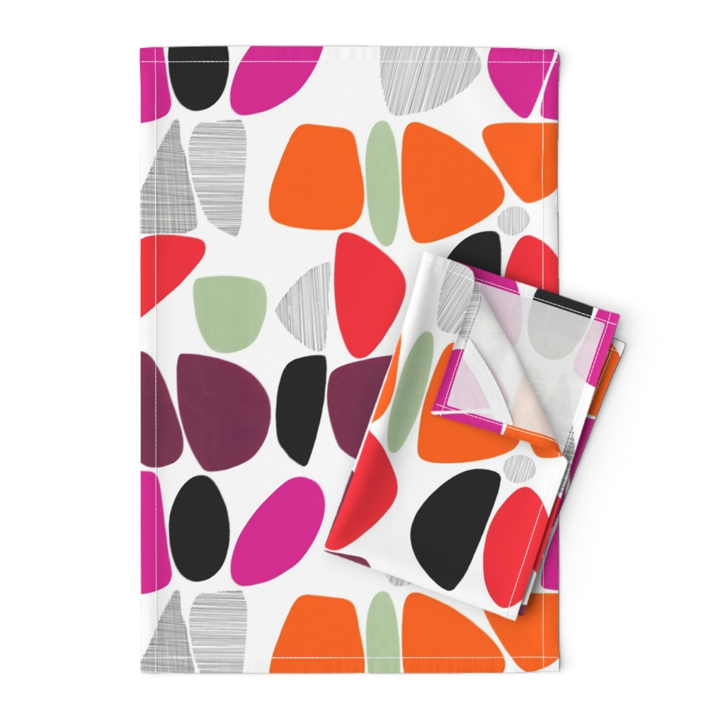Orpington Tea Towels featuring 1950s Pebbles (reds) by kate_rowley