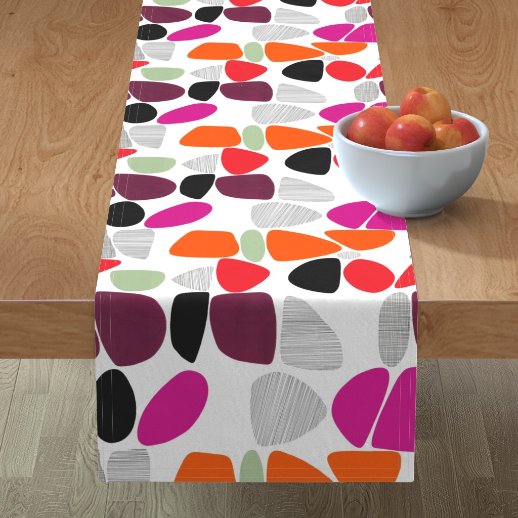 Minorca Table Runner featuring 1950s Pebbles (reds) by kate_rowley