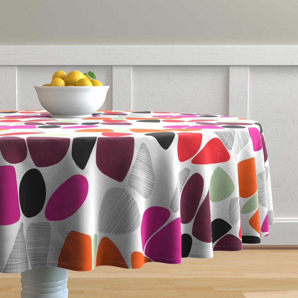 Malay Round Tablecloth featuring 1950s Pebbles (reds) by kate_rowley