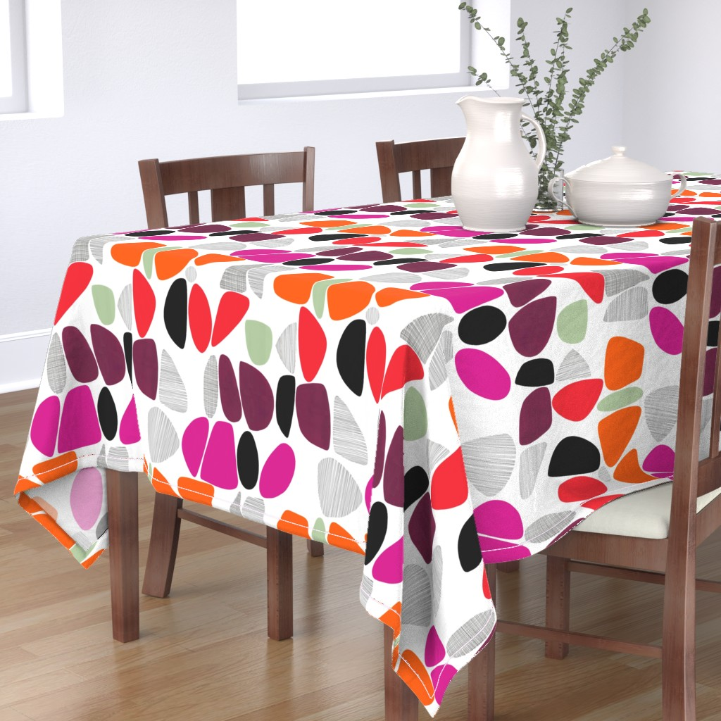 Bantam Rectangular Tablecloth featuring 1950s Pebbles (reds) by kate_rowley