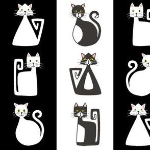 Geometric Kitty Stripes - black and white