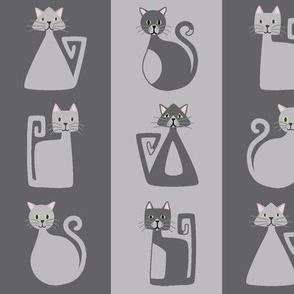 Geometric Kitty Stripes - grey