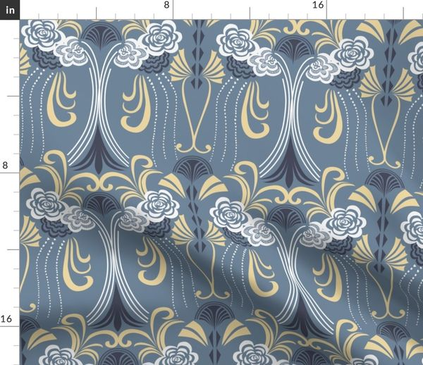Incredible Fabric By The Yard 1920S Art Deco On Blue Grey Base Download Free Architecture Designs Grimeyleaguecom