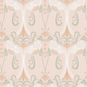 1920's Art Deco on soft shell pink base