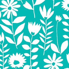 cutout flower (aqua)