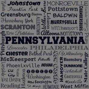 Pennsylvania cities, medium gray