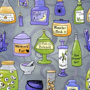 potions on grey