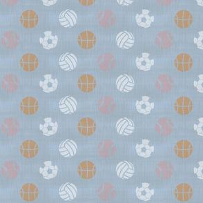 Sports balls on slate - tennis basketball volleyball soccer football