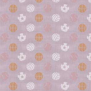 Sports balls on lavender - tennis basketball volleyball soccer football