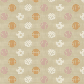 Sports balls on linen - tennis basketball volleyball soccer football