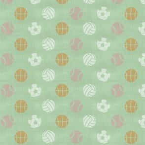 Sports balls on mint - tennis basketball volleyball soccer football