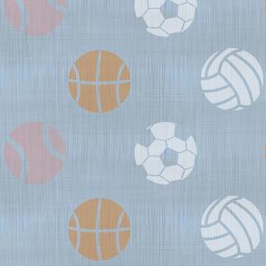 XL Sports balls on slate - tennis basketball volleyball soccer football