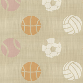 XL Sports balls on linen - tennis basketball volleyball soccer football