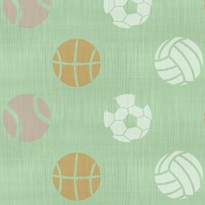 XL Sports balls on mint - tennis basketball volleyball soccer football