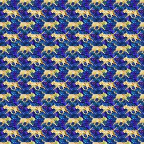 Cosmic trotting Miniature Bull Terrier - night