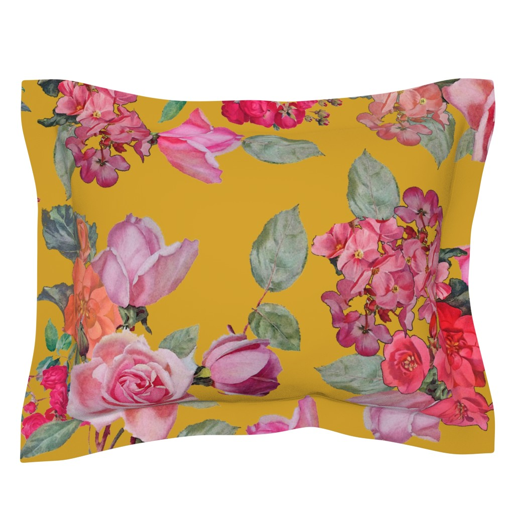 Sebright Pillow Sham featuring Vintage Roses // Mustard (Large Size) by theartwerks