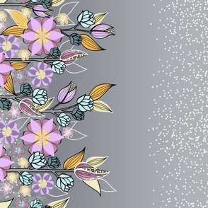 Large Floral Border with Lilac Purple Flowers on Gray