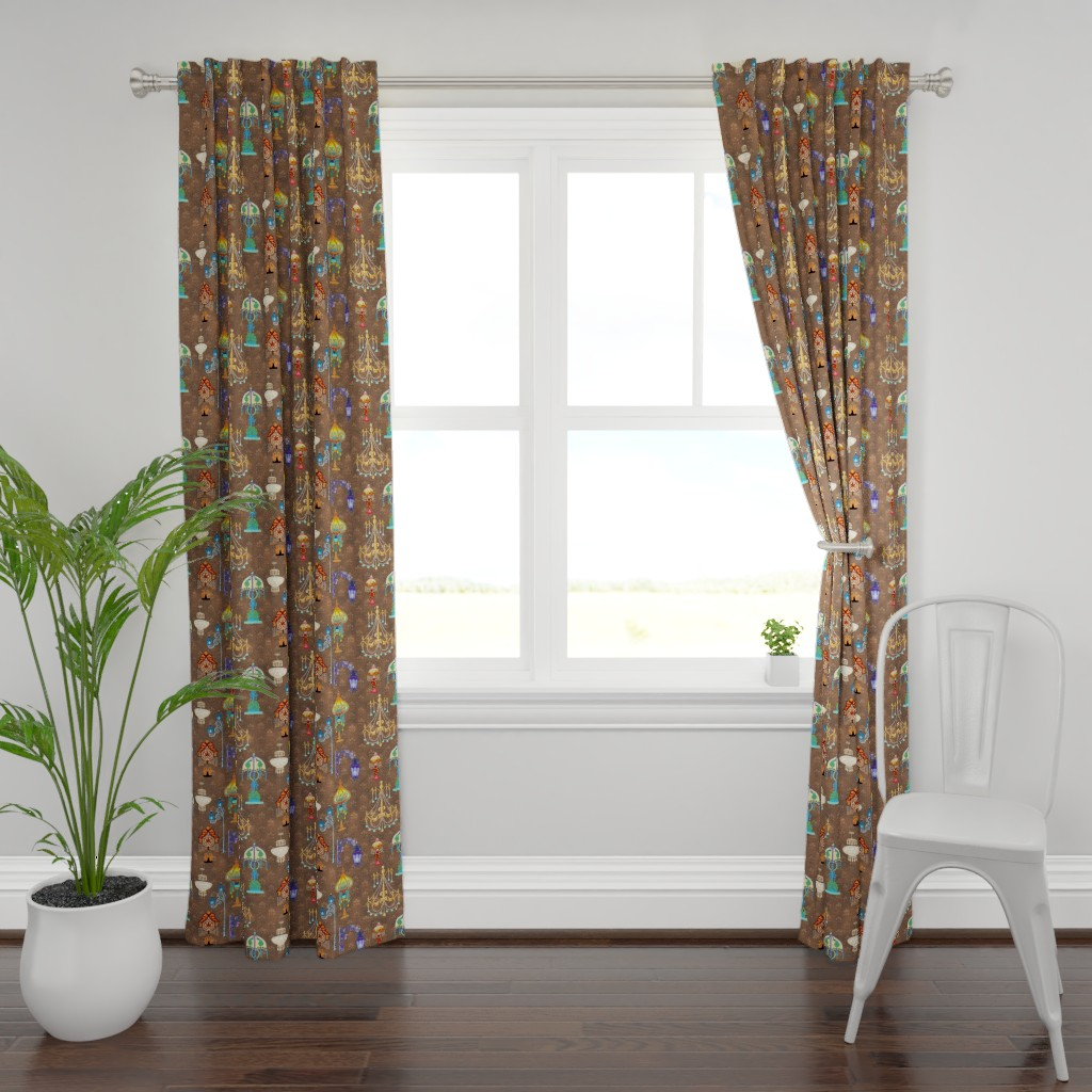 Plymouth Curtain Panel featuring Light Fixtures of Victorian Style by adrianne_vanalstine