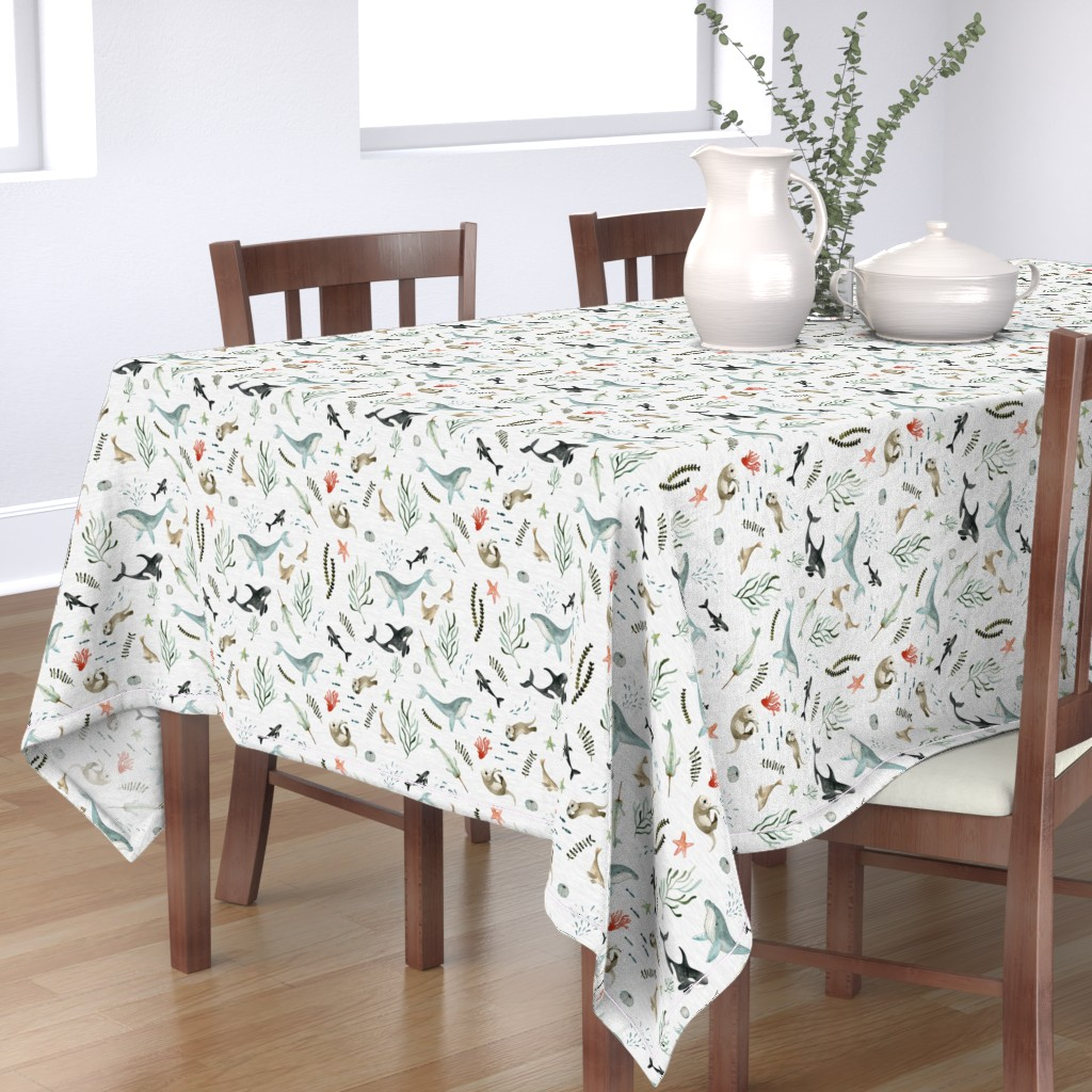 Bantam Rectangular Tablecloth featuring Pacific Ocean by little_pine_artistry