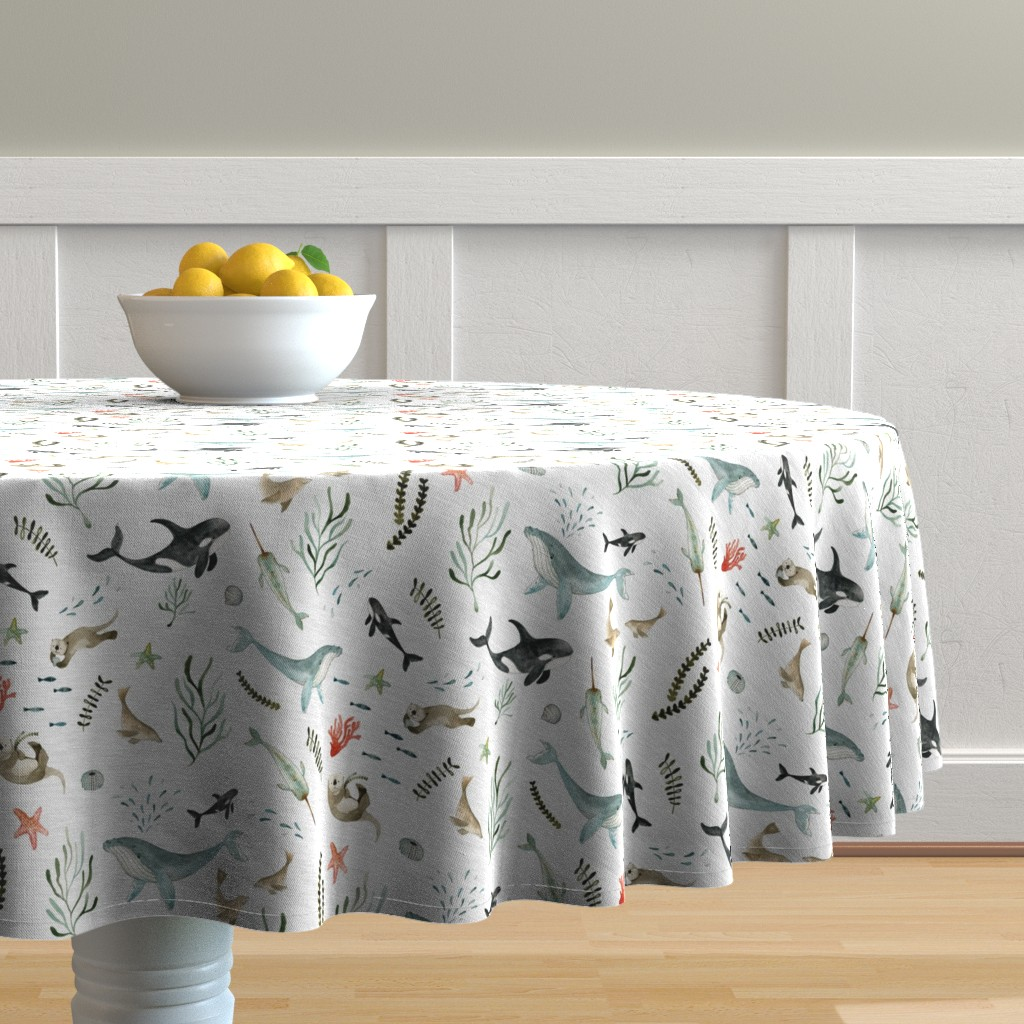Malay Round Tablecloth featuring Pacific Ocean by little_pine_artistry