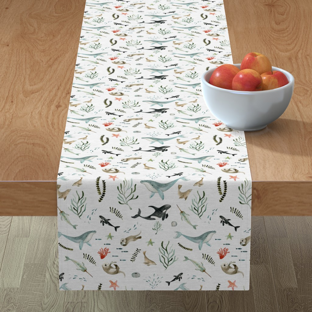 Minorca Table Runner featuring Pacific Ocean by little_pine_artistry
