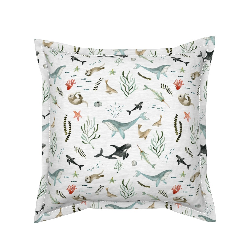 Serama Throw Pillow featuring Pacific Ocean by little_pine_artistry