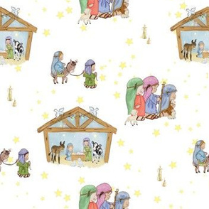 Nativity scene with stars