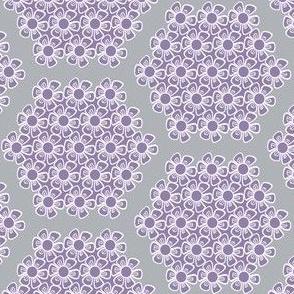 Flower Lace Hexagons, Gray, Purple