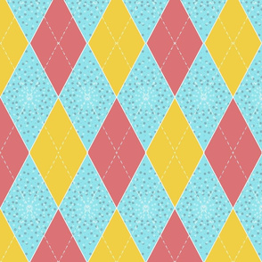 Yellow, Pink, Aqua Argyle Diamonds for Bunting