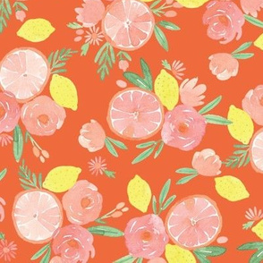 Pink Citrus on Red