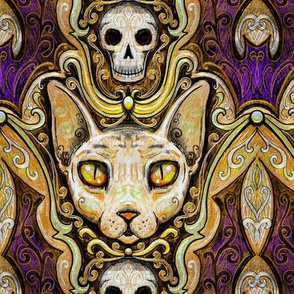 Spooky sphynx cat halloween damask