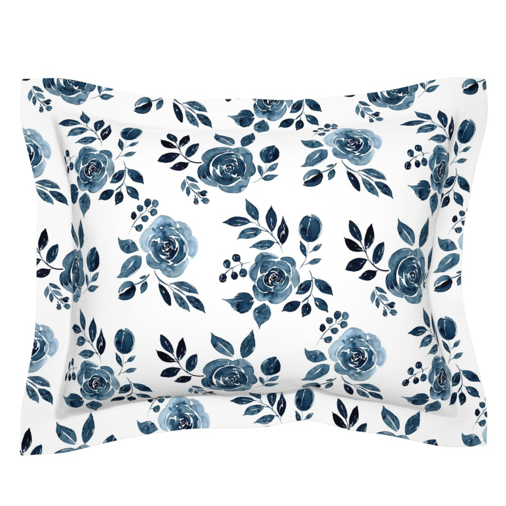 Sebright Pillow Sham featuring Watercolor Floral Pattern No. 6 - Navy Blue Roses 150 dpi 2 by red_raspberry_design