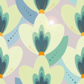 1960s geometric floral design