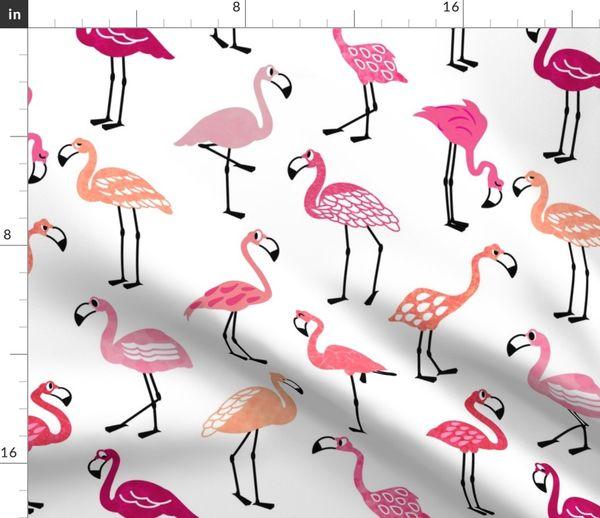 Tissu Au Mètre Oiseau Dessin Animé Les Enfants Corail Flamant Rose