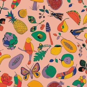 Fruits, mushrooms, insects and birds