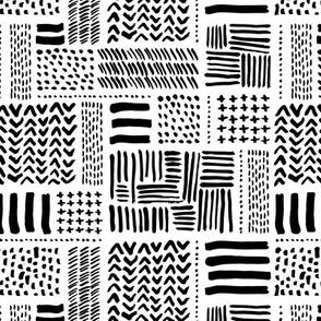 Modern minimal aztec patchwork geometric hand drawn ink shapes monochrome black and white