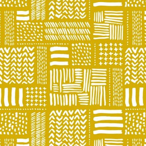 Modern minimal mudcloth aztec patchwork geometric hand drawn ink shapes ochre yellow summer