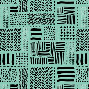 Modern minimal mudcloth aztec patchwork geometric hand drawn ink shapes mint green black