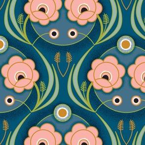 Fleur de Nuit* (Maxi) || art deco 1920s 20s flower flowers floral leaves vines coral garden