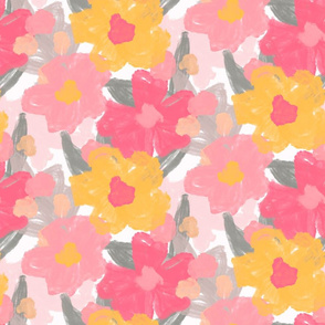 Pretty pink and yellow flowers on a white base