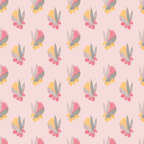 Pretty painted, small floral on soft pink