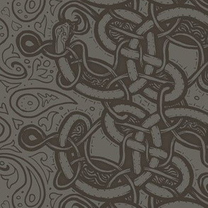Knotwork Paisley Serpent GRAY