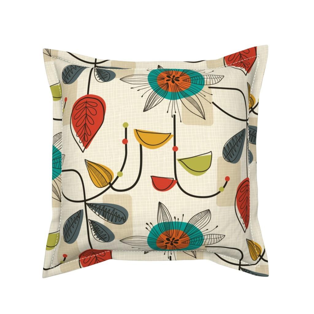 Serama Throw Pillow featuring 1950's Mid Century Modern by patternanddesign