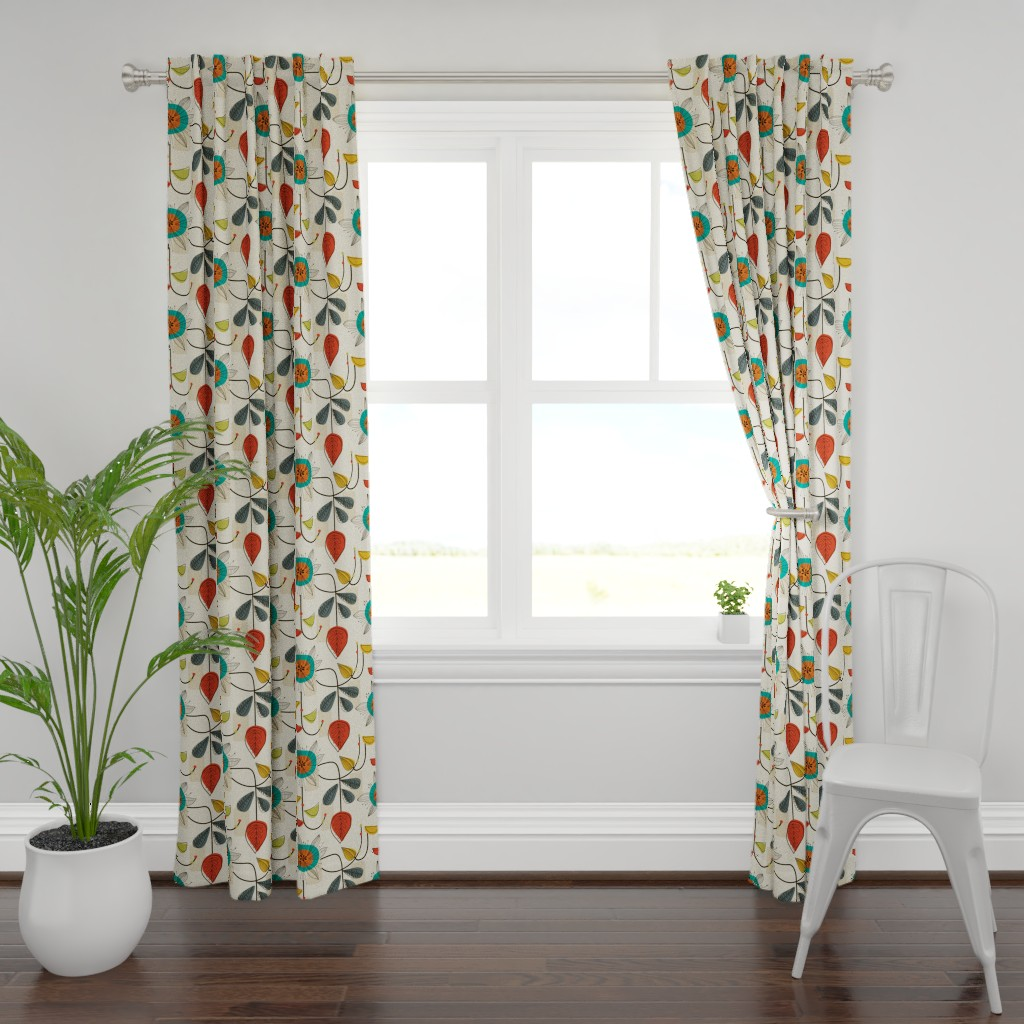 Plymouth Curtain Panel featuring 1950's Mid Century Modern by patternanddesign