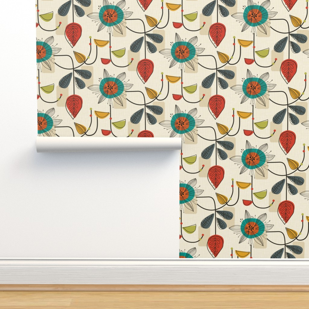 Isobar Durable Wallpaper featuring 1950's Mid Century Modern by patternanddesign