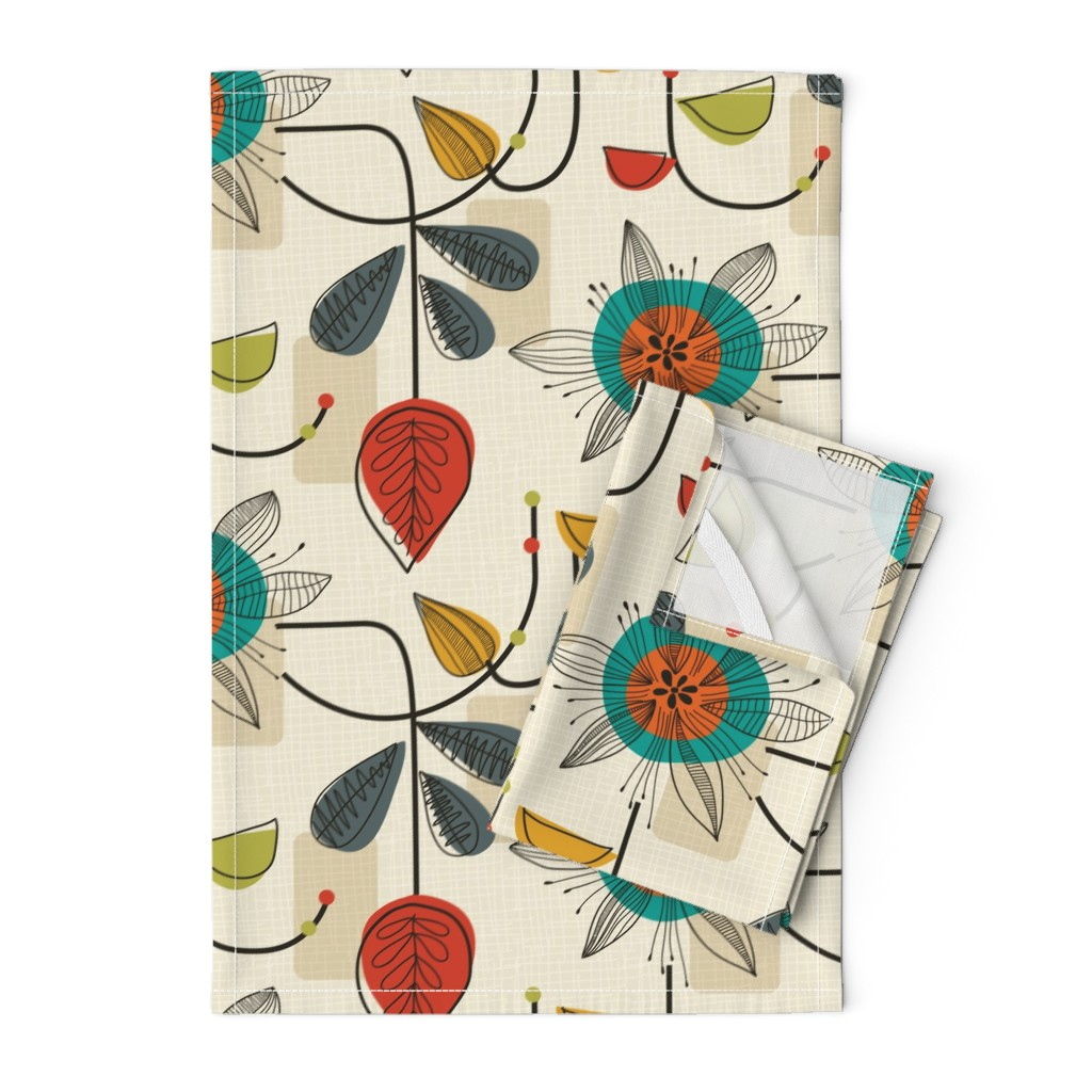 Orpington Tea Towels featuring 1950's Mid Century Modern by patternanddesign