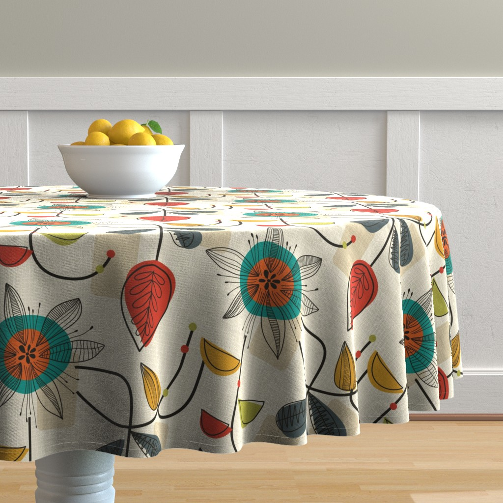 Malay Round Tablecloth featuring 1950's Mid Century Modern by patternanddesign