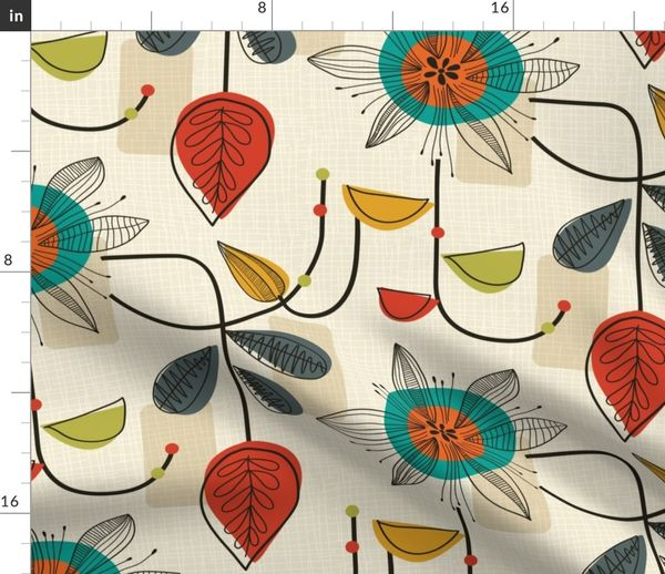 Fabric by the Yard 1950's Mid Century Modern